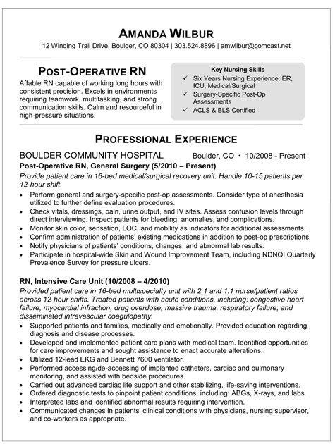Med Surg Rn Resume Sample Resume For Post Op Nurse I'm A Nurse