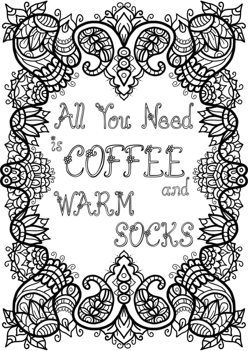 free colouring page  coffee and warm sockswelshpixie