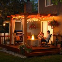Outdoor Patio Ideas with Wooden Cover and Modern Lighting ...