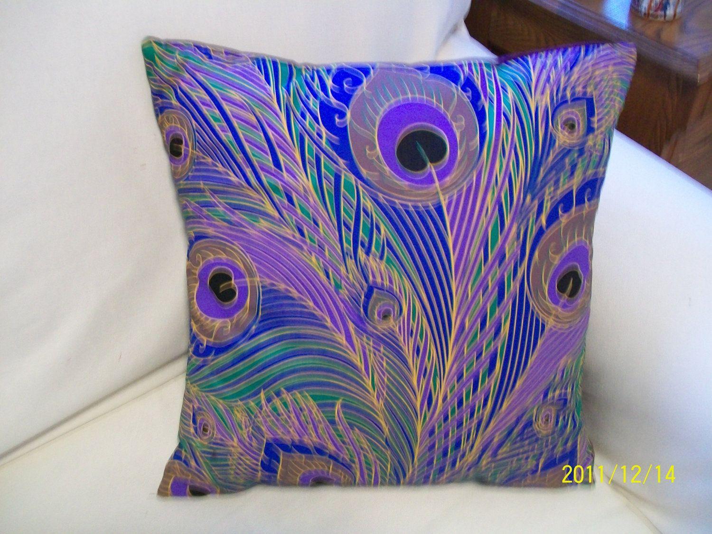 Peacock pillow via Etsy  PEACOCKS  Pinterest  Peacock