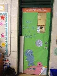 The classroom door, decorated as our favorite book cover ...