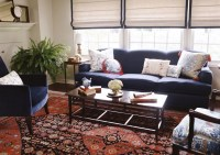 living room navy sofa and chairs red pattern rug | Living ...