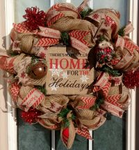 Rustic Christmas Wreath, Burlap Christmas Wreath, Front ...
