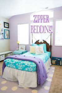 Turquoise and purple girls bedding. Love the purple accent ...
