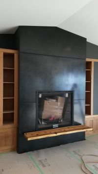 blackened steel fireplace surround and hearth support ...