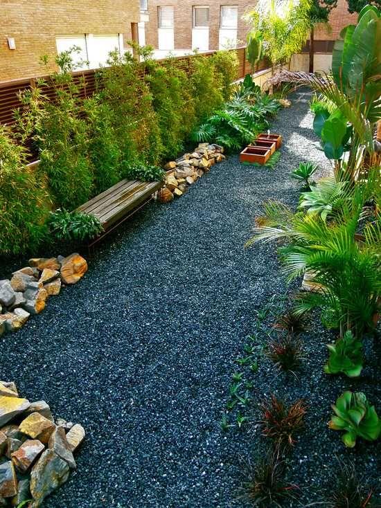 Modernizar El Bambú Paisaje Ideas Bancos De Jardín Piedras