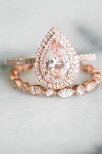 Pear Shape Double Halo Rose Gold Morganite Wedding Set ...