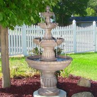 4-Tier Mediterranean Outdoor Waterfall Water Fountain Yard ...