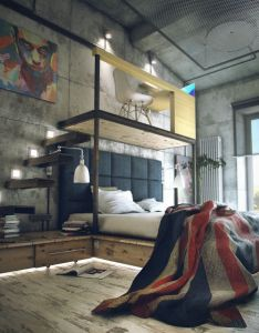 Loft style bedroom with desk and stairs built into headboard industrial design renovation inspiration also seriously the coolest looking place ever college apartment ideas rh pinterest
