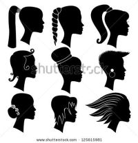 girl in braids silhouette - Google Search | Sketching ...