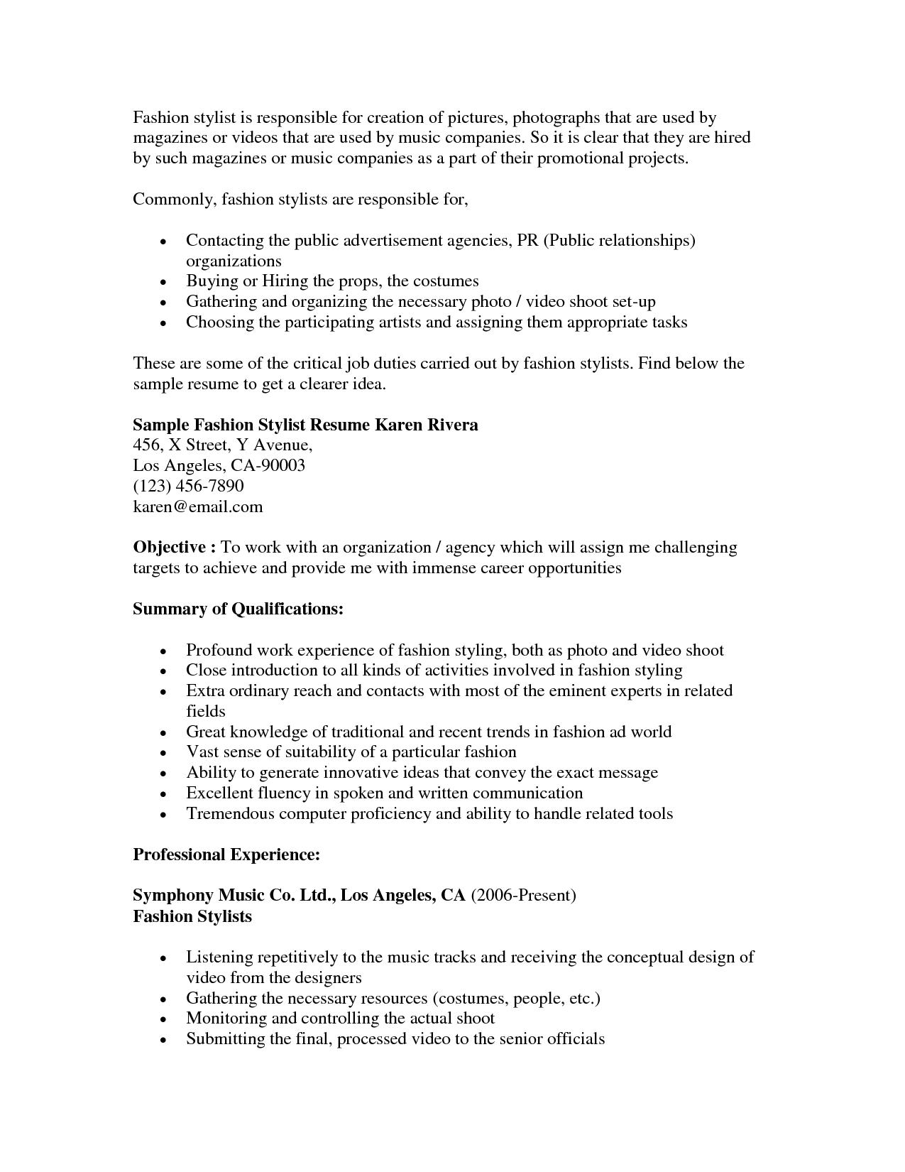 Fashion Stylist Resume Objective Resumecareer Info