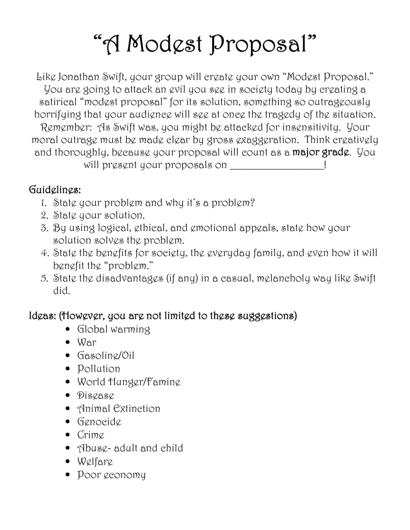 modest proposal essay topics  mistyhamel a modest proposal essay ideas infoletter co