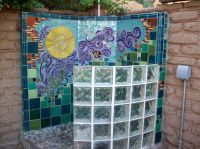 Custom designed #mosaic #wall for an outdoor #shower