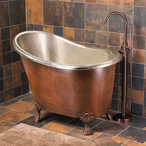 Photos 48 Abbey Hammered Copper Slipper Soaking Tub With Nickel Interior On Claw Feet