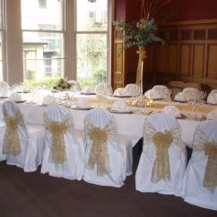 Chair Covers Wedding Yorkshire Old Fashioned Rocking Cushions Gold Embroidered Organza Sashes On White At