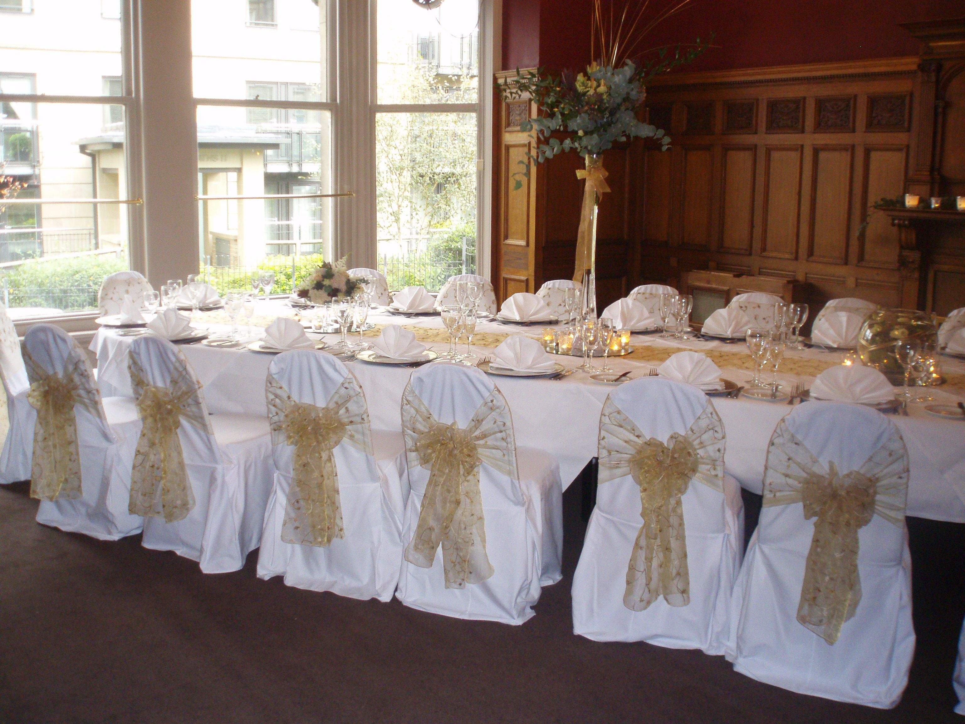 wedding chair covers chelmsford red kitchen table chairs gold embroidered organza sashes on white at