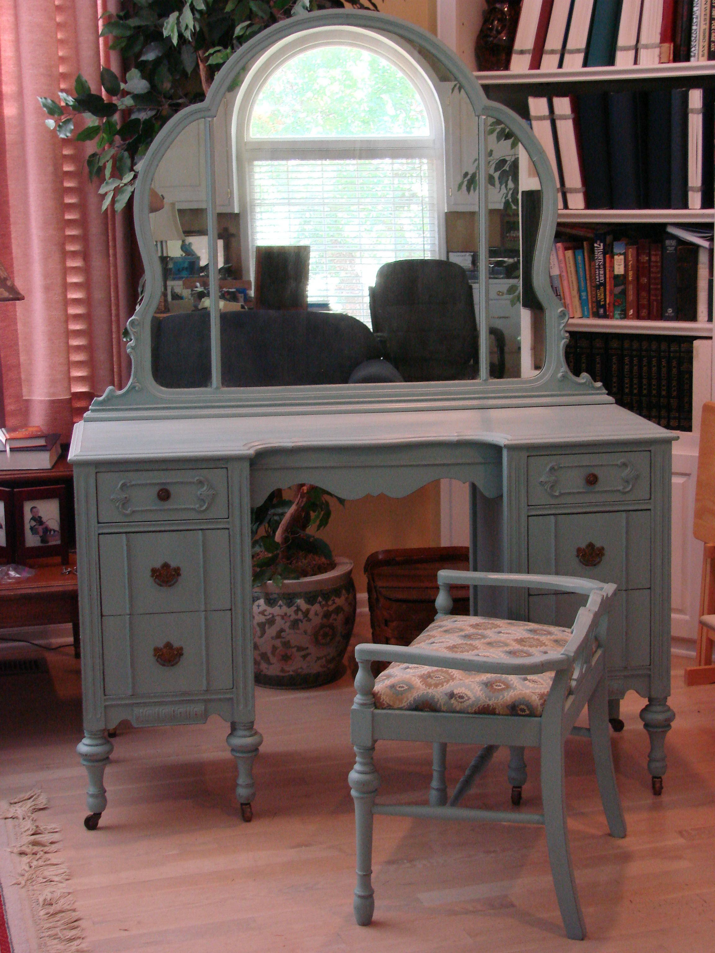 Vanity With Mirror And Chair Vanity Mirror Chair Painted With Ascp Duck Egg Blue