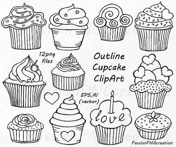 Cupcake-Clipart Doodle Cupcakes Cliparts von