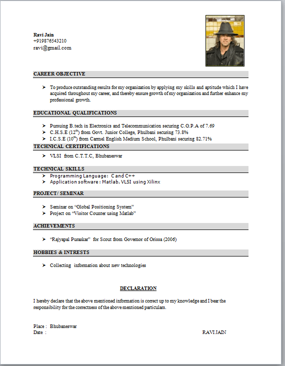 Student Resume Formats Student Resume Template 21 Free Samples