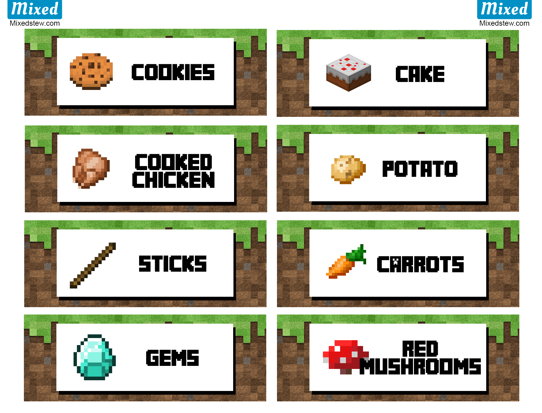 Ultimate Minecraft Party Printable Food Labels