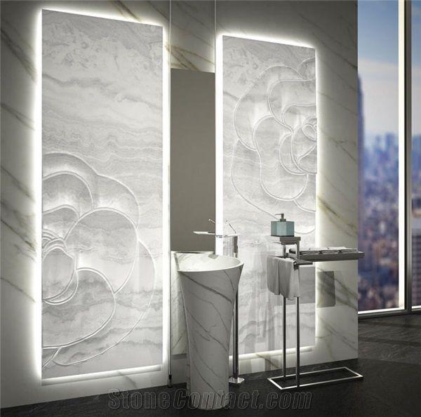 Inlaid Backlit White Onyx Wall Panels, Onice Bianco Avorio