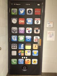 Door decor for technology classroom at an Apple ...