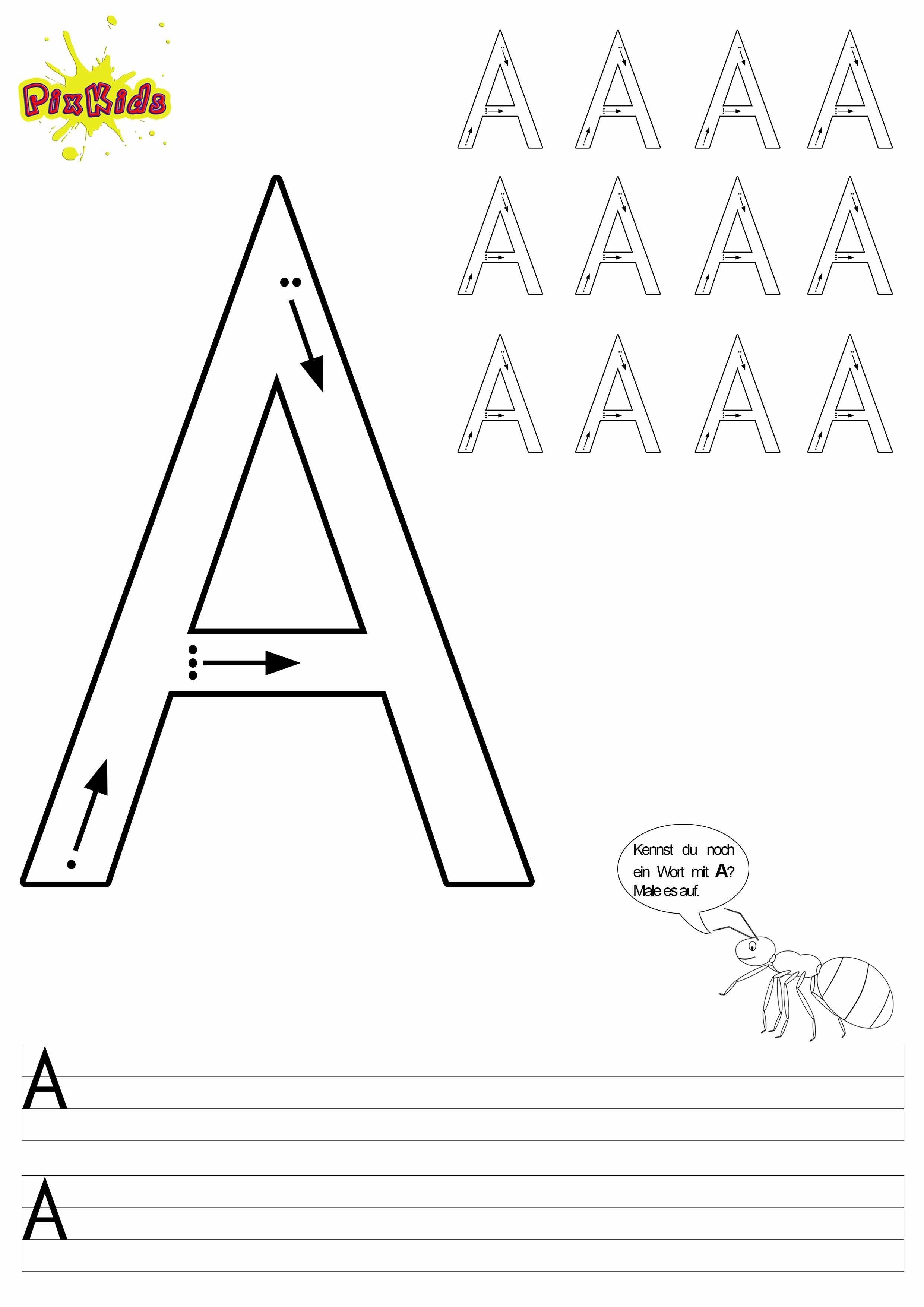Buchstaben Schreiben Lernen Arbeitsblatter Buchstabe A
