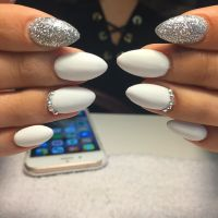 Matte white and silver nails #cocainewhite #whitenails# ...