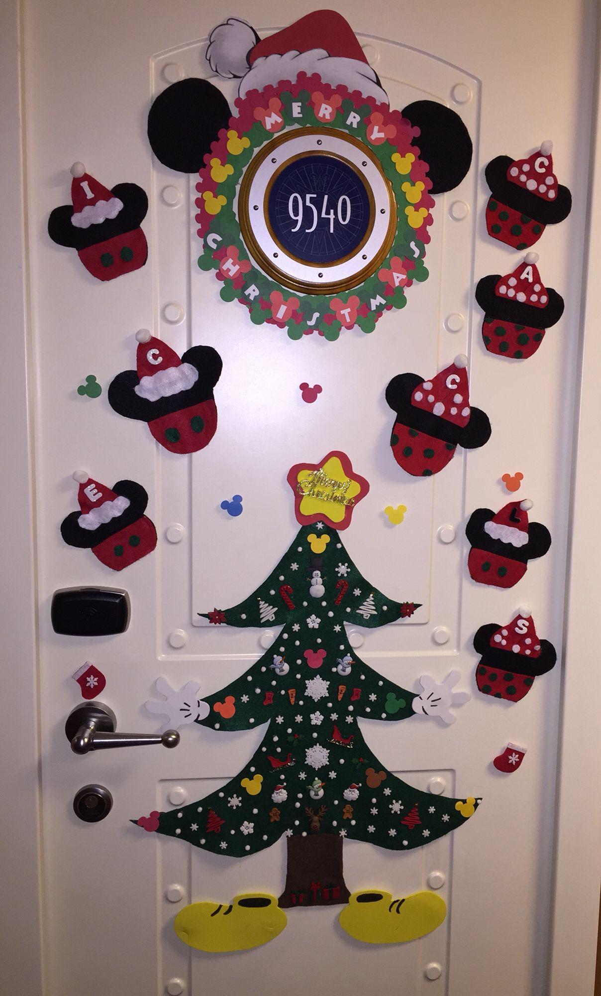Disney Cruise Christmas decorated cabin door.
