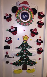 Disney Cruise Christmas decorated cabin door.