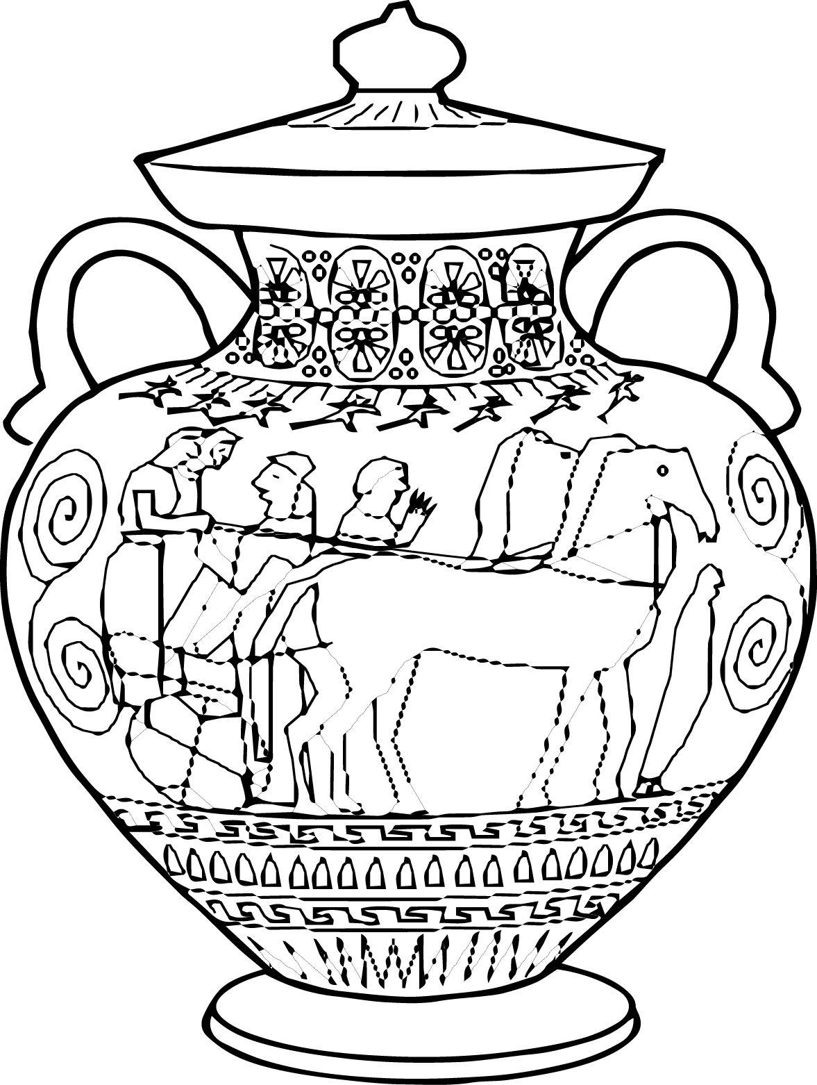 Ancient Greek Vase Clip Art Sketch Coloring Page