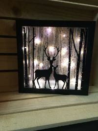 Deer lighted shadow box 8x8, Night light, christmas decor ...