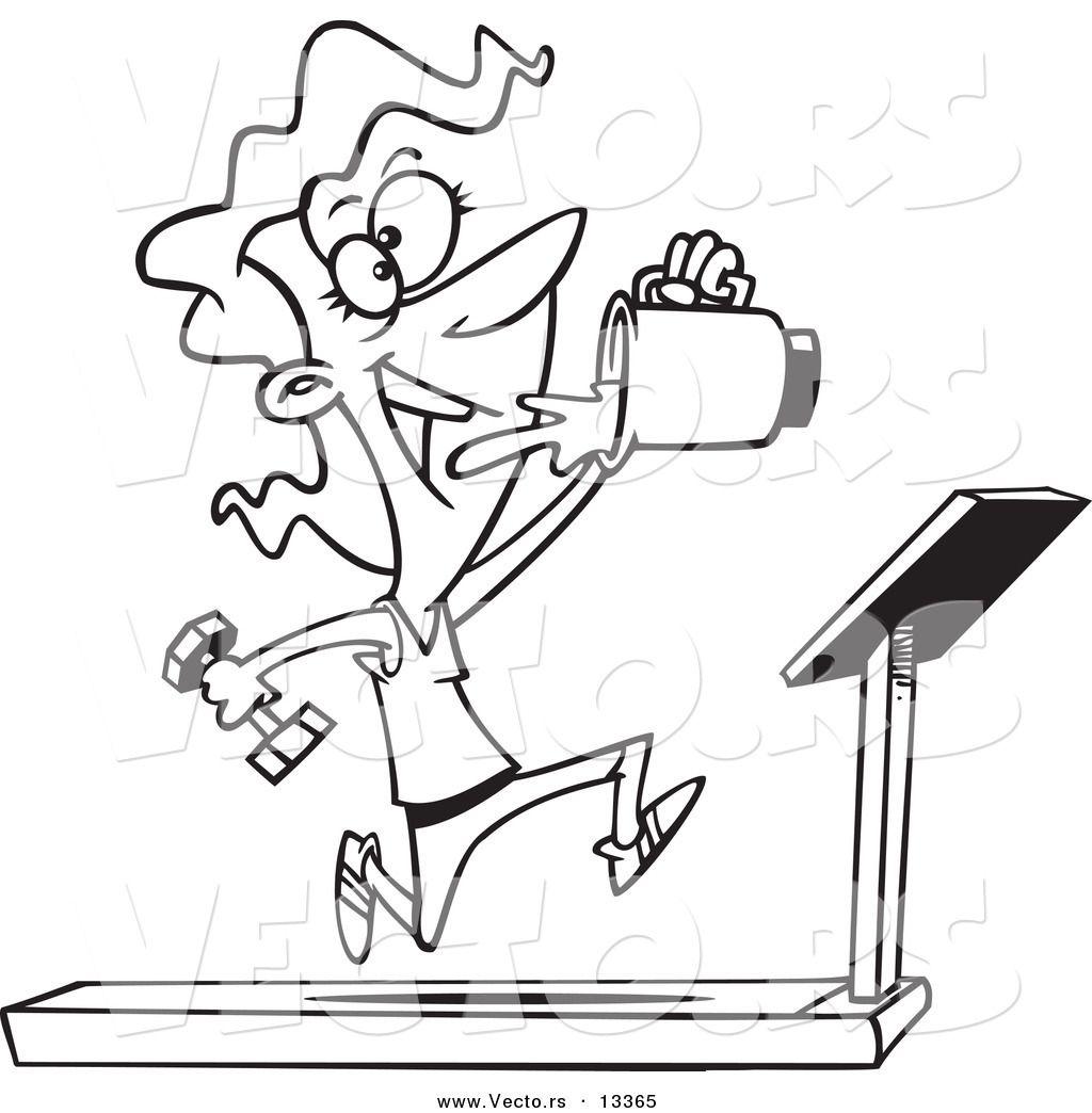 Cartoon Running On Treadmill Clipart