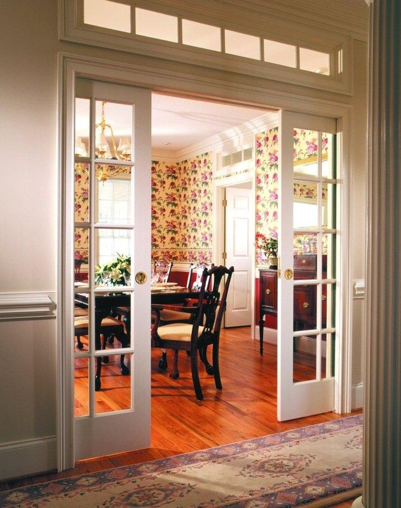 pocket doors between living room and kitchen, or between