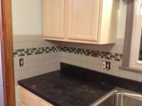 Subway tile backsplash with glass tile accent, love my ...
