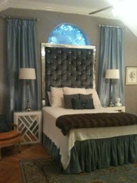 My DIY Tufted headboard with antique mirror frame. I made ...