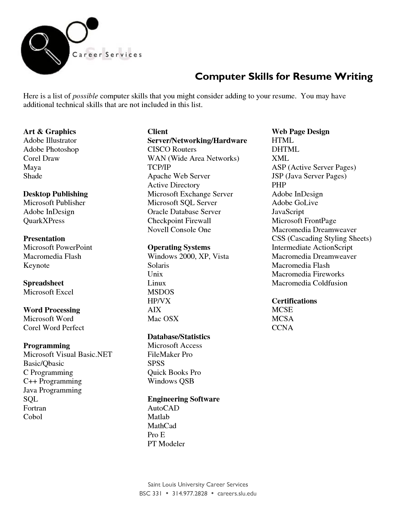 Listing Computer Skills On Resume Resumecareer Info