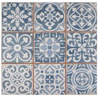 The SomerTile 13x13-inch Faventia Azul Ceramic Floor and ...