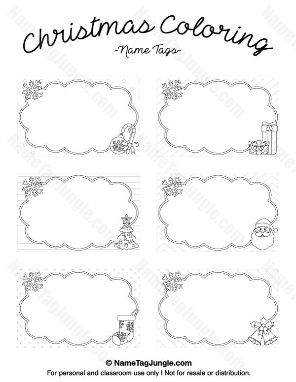 Free printable Christmas coloring name tags. The template