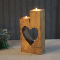Reclaimed Wood Heart Cut-Out Candle Holder | Wooden cubes ...