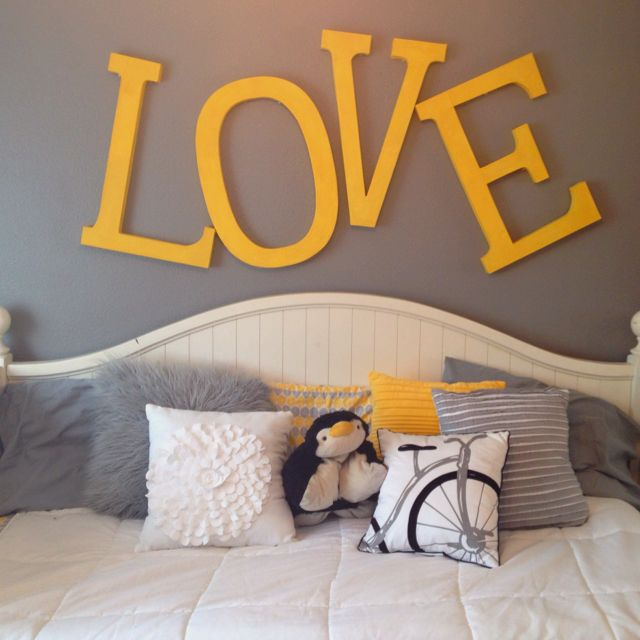 Yellow and grey bedroom    obsessed with this not ashamed to say also best images about on pinterest vinyl wall art rh