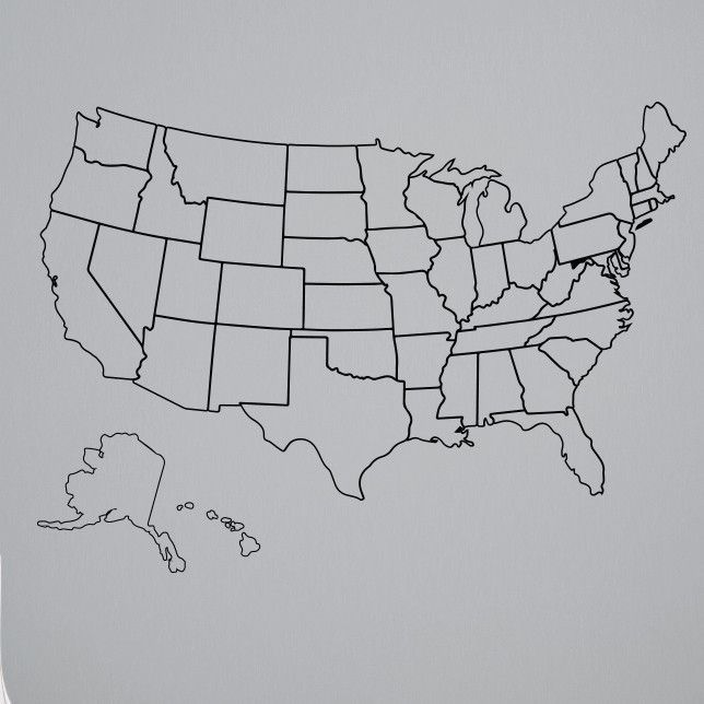 Outlined United States Map with Fill-In State Packs