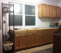 Reuse old kitchen cabinets in garage to create a workbench ...