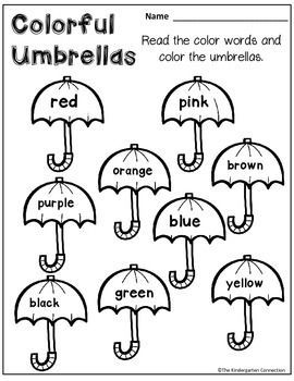 FREE color word umbrellas! Part of an April themed