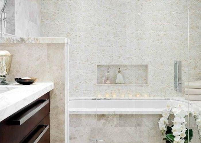 Buchman photo bathrooms rain shower head mosaic glass tiles surround travertine spa like bathroom master also
