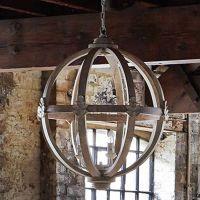 Large Round Wooden Orb Chandelier