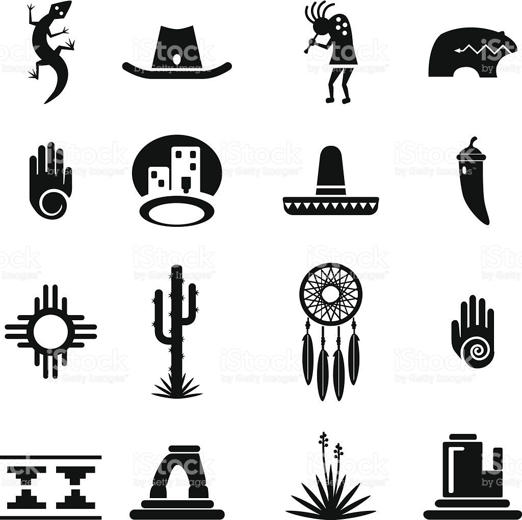 Set Of Southwestern Desert Icons Each Icon Is Grouped And Organized