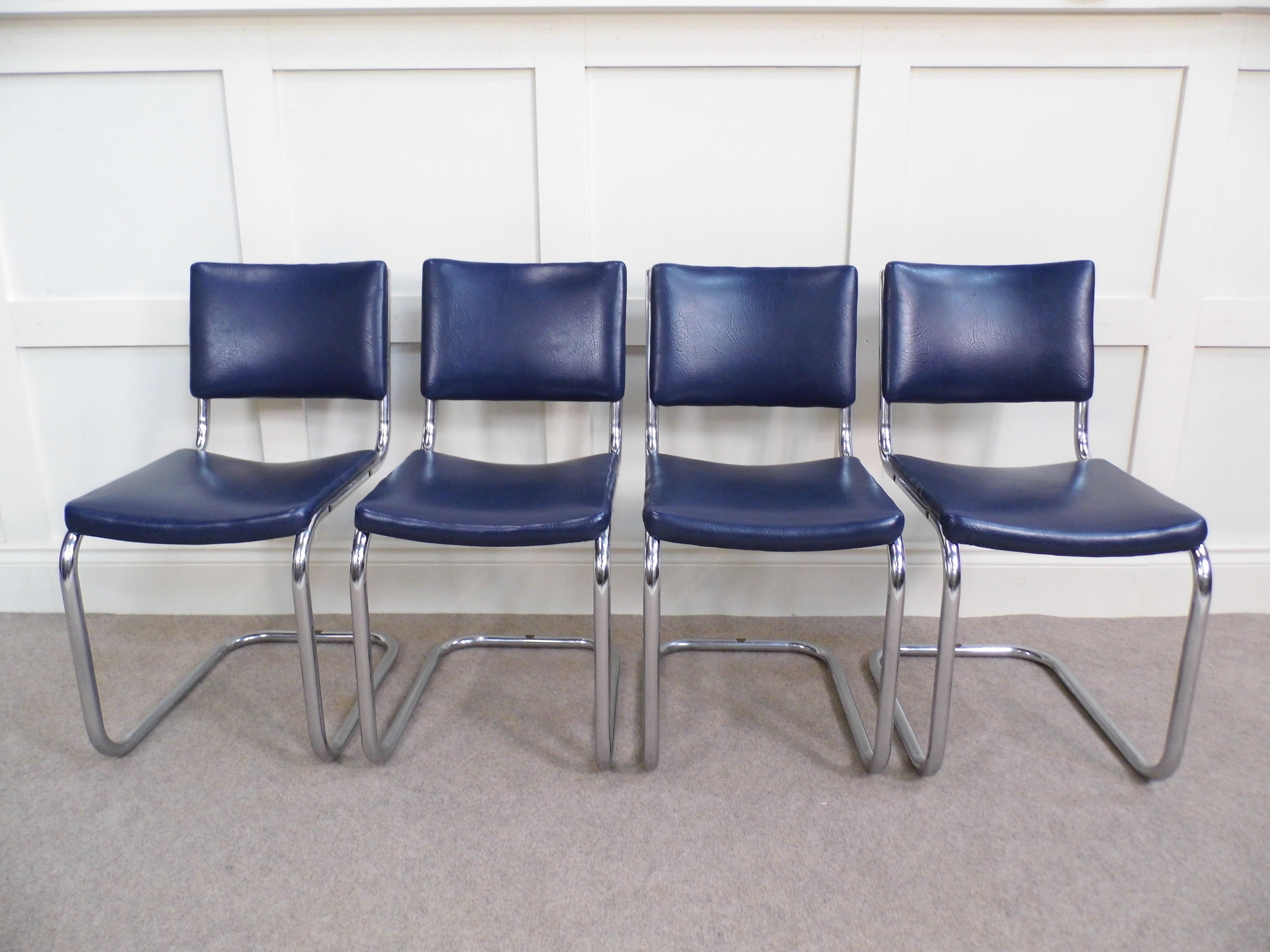 Blue Leather Dining Chairs Chrome Vintage Bauhaus Pel Dining Chairs 1930s In Blue