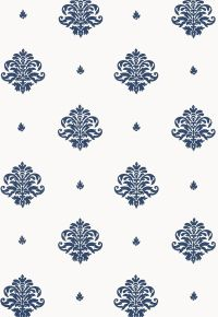 This wallcovering features a small scale classic damask ...