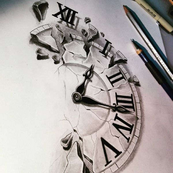 Clock Tattoo Drawings Sketches